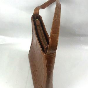Monsac Bags Croc Tan Leather Handbag Purse Tote Satchel